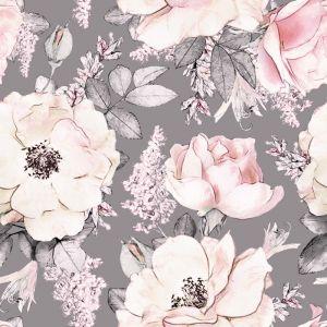 Peony Garden Grey Wallpaper