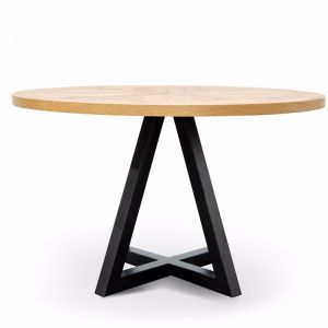 Percy Round Dining Table | 125cm|  European Knotty Oak and Peppercorn