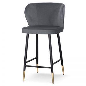 Perkins 65cm Bar Stool - Grey Velvet in Black Legs
