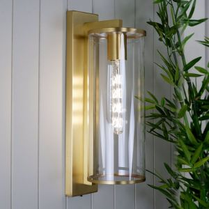Perova 50 Exterior Wall Lamp | Brass and Clear | Industrial Lighting