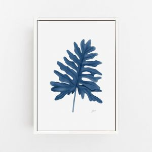 Philodendron Living Wall Art in Navy Blue by Pick a Pear | Canvas Wall Art