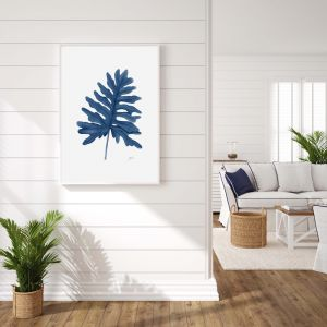 Philodendron Living Wall Art in Navy Blue by Pick a Pear | Unframed Print