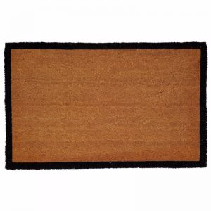 Phthalate Free PVC Backed Natural Coir Entrance Mat | Large | Black Border