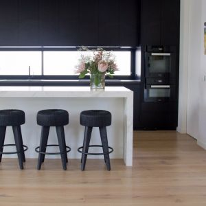 Pican Kitchen Stool   Black Woven Seat with Black Legs by SATARA