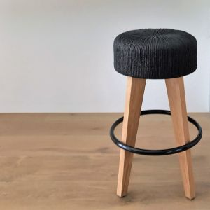 Pican Kitchen Stool | Black Woven Seat with Natural Legs by SATARA