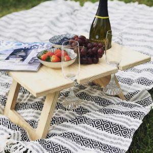 Pine Folding Wine Table | 4 | Glass