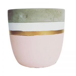 Pink and Gold Concrete Planter