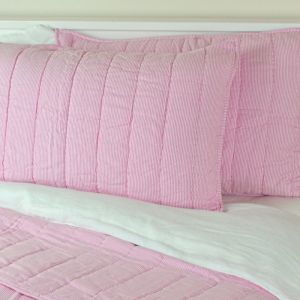 Pink Fine Stripe Quilted Pillow Shams