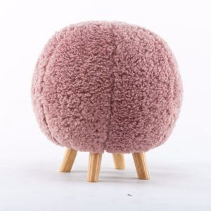 Pink Fleece Ball Stool with Natural Wooden Legs