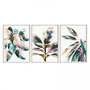 Pink Leaves Trio Print Set | Sara Turner