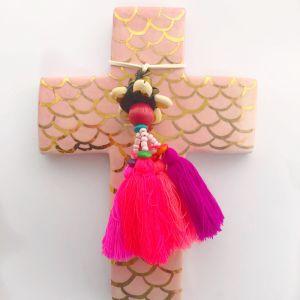 Pink Mermaid Cross