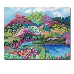 Pink Peaks   Abstract Landscape   Original Artwork