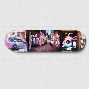 Pink Pussy on Wood Street | Skateboard Deck Wall Art | Graffiti Photography | Blue Herring