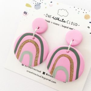 Pink Rainbow Earrings by One White Cloud