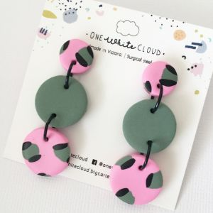 Pink & Sage Animal Print Trio Earrings by One White Cloud