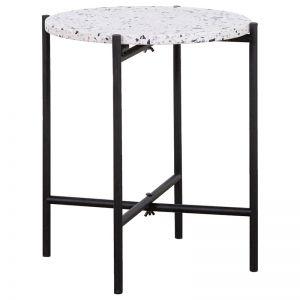 Pollo Side Table w Steel Legs | White Terrazzo | Schots