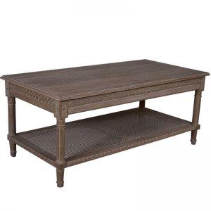 Polo Rectangular Coffee Table | Oak Wash with rattan shelf