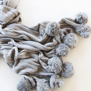 Pom Pom Blanket | Grey | by Belle & Co. Living