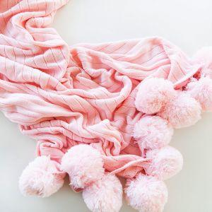 Pom Pom Blanket | Pink | by Belle & Co. Living