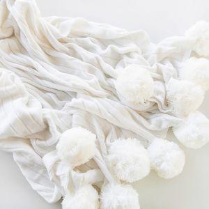 Pom Pom Blanket | White | by Belle & Co. Living