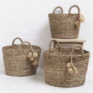 Pom Pom Handwoven Basket l Pre Order