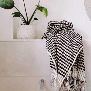 Pom Pom Turkish Bath Towel | Black and White