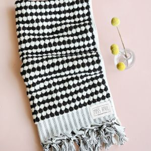 Pom Pom Turkish Hand Towel | Black and White