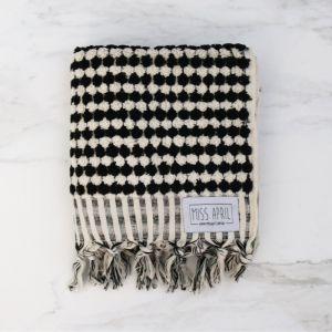 Pom Pom Turkish Hand Towel | Black and White