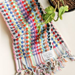 Pom Pom Turkish Hand Towel | Multicoloured