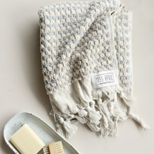 Pom Pom Turkish Hand Towel | Pale Grey