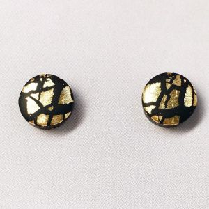 POP + POP Handmade Earrings   Metallic Leaf   Black and Gold