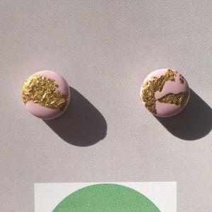 POP + POP Handmade Earrings   Metallic Leaf   Gold Scandi Pink