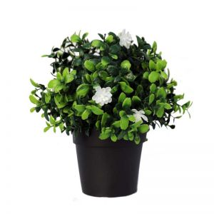 Potted Artificial Flowering Boxwood Plant | UV Resistant