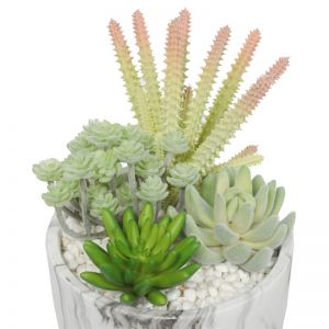 Potted Artificial Succulent Bowl | Marble Pot | 20.5cm