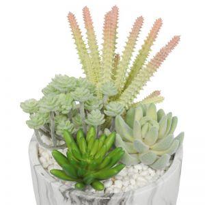 Potted Artificial Succulent Bowl | Marble Pot | 20.5cm