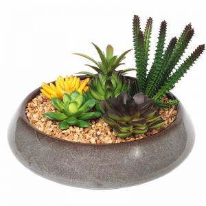 Potted Artificial Succulents | Round Decorative Bowl | 19cm