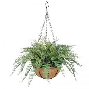 Potted Fern Hanging Basket (Fresh Green) UV Resistant 55cm