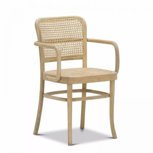 Prague Solid Teak Bentwood Cane | Dining Arm Chair | Natural