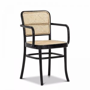 Prague Solid Teak Bentwood Cane | Dining Chair | Black & Natural