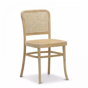 Prague Solid Teak Bentwood Cane Dining Chair   Natural   Set of 2