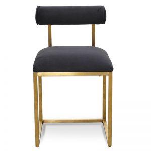 Prato Dining Chair In Black Velvet | Brushed Gold Base