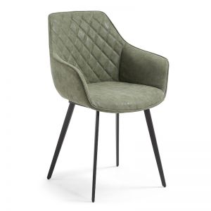 PRE-ORDER - October Arrival | Aminy Armchair in Green Synthetic Leather