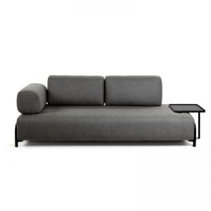 PRE -ORDER - October Arrival | Compo Dark Grey 3 Seater Sofa with Tray