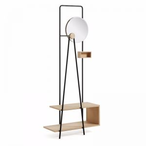 PRE-ORDER - October Arrival   Nostalgic Ash Timber and Metal Mirrored Coat Stand
