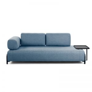 Compo Blue 3 Seater Sofa with Tray