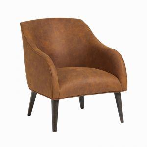 Lobby Armchair In Rust Vegan Leather