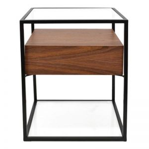Prologue Bedside Table | Walnut/Black | CLU Living