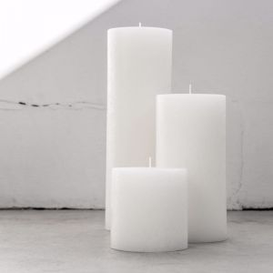Pure White Textured Candle   Trio   Candle Kiosk