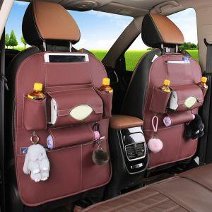 PVC Leather Car Back Seat Storage Bag Multi-Pocket Organizer Backseat and iPad Mini Holder Coffee