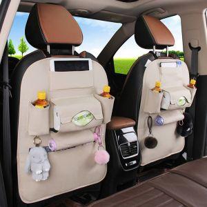 PVC Leather Car Back Seat Storage Bag Multi-Pocket Organizer Backseat and iPad Mini Holder White